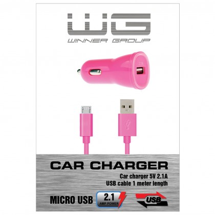 Autonabíjačky (12V) Autonabíječka colour USB (2,1A)+dat. kabl micr-USB/růžová