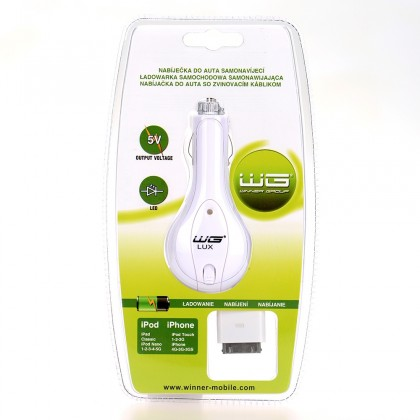 Autonabíjačky (12V) Car charger retractable WG LUX  iPhone 3G/iPhone 4/iPhone 4S/iPo