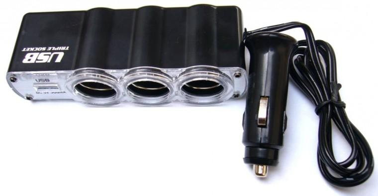 Autonabíjačky (12V) Rozbočovač pre autozapaľovač 3x12V + USB port