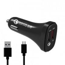 Autonabíječka DUAL USB Qualcomm 2.0 (4,8A) + dat. kabel černá