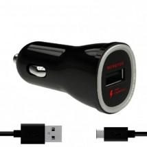 Autonabíječka Fast Charging USB (2.4A) + kabel Type C černá