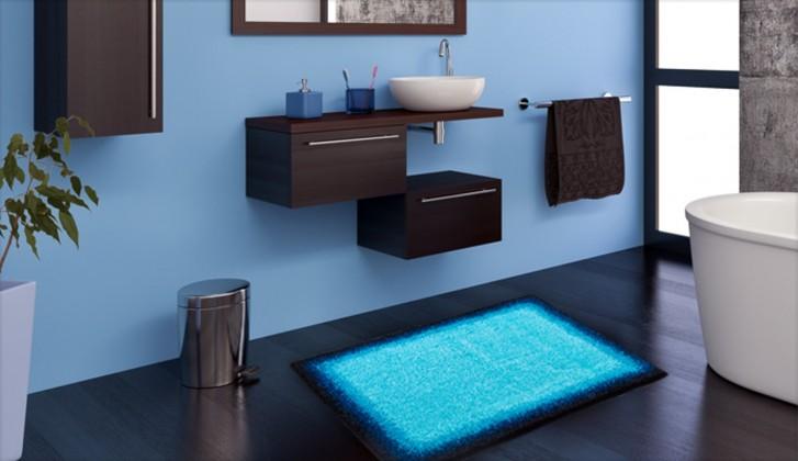Avalon - Kúpeľňová predložka 60x100 cm (ľadovo modrá-čierna)
