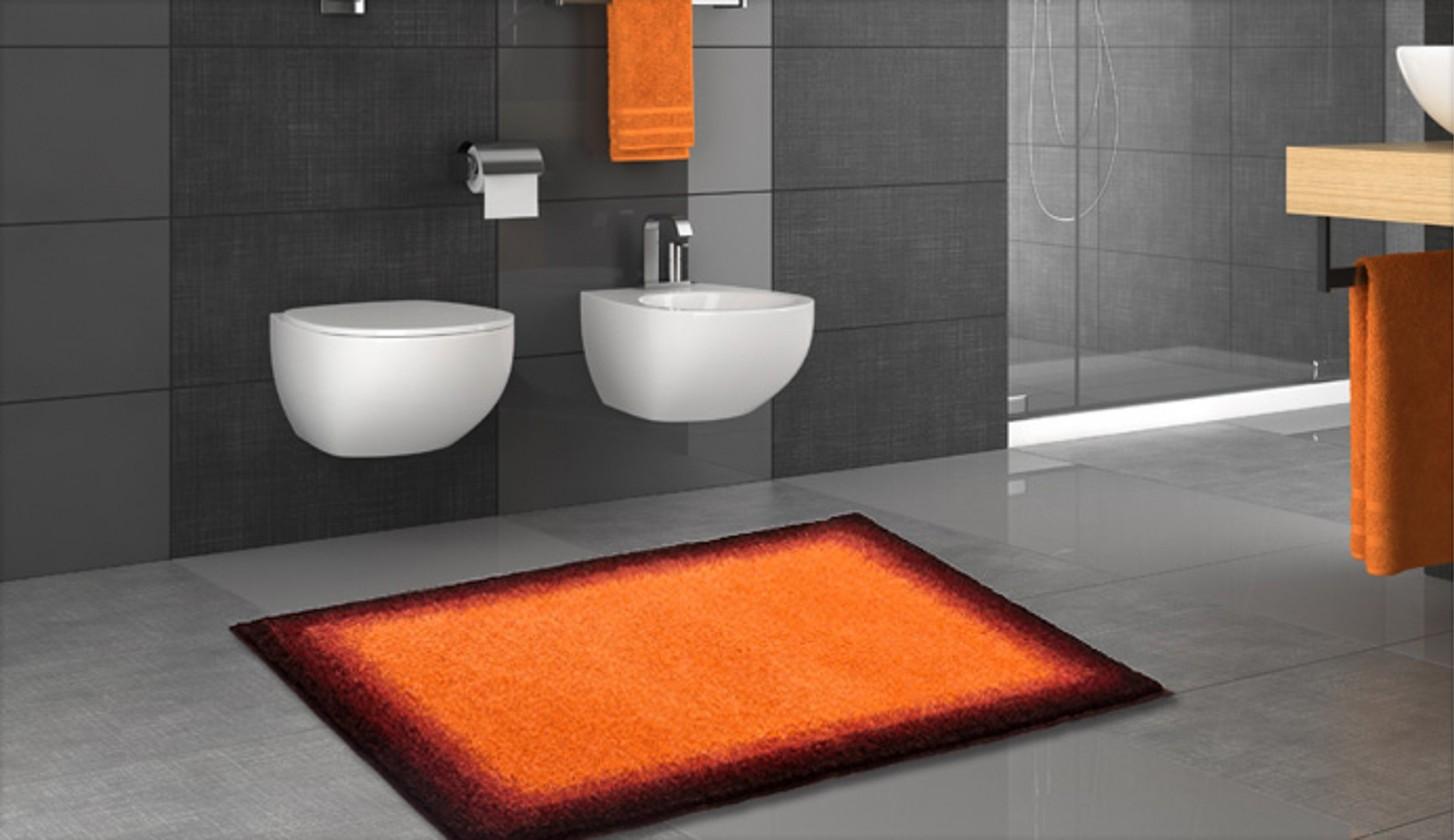 Avalon - Kúpeľňová predložka 70x120 cm (oranžová-čierna)