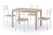 Avant - Stôl + 4 stoličky (biela, dub sonoma)
