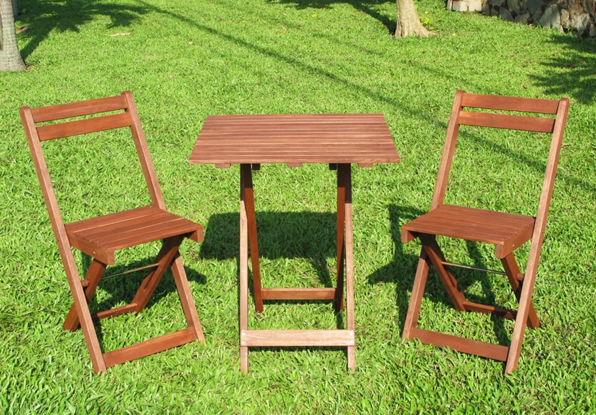 Balkonový drevený set Acacia 3-dílný (prírodná)