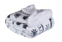 Baránková deka DB01 (150x200 cm, biela, vianoce)
