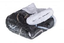 Baránková deka DB06 (150x200 cm, čierna, srdiečka)