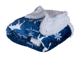 Baránková deka DB10 (150x200 cm, modrá, Vianoce)