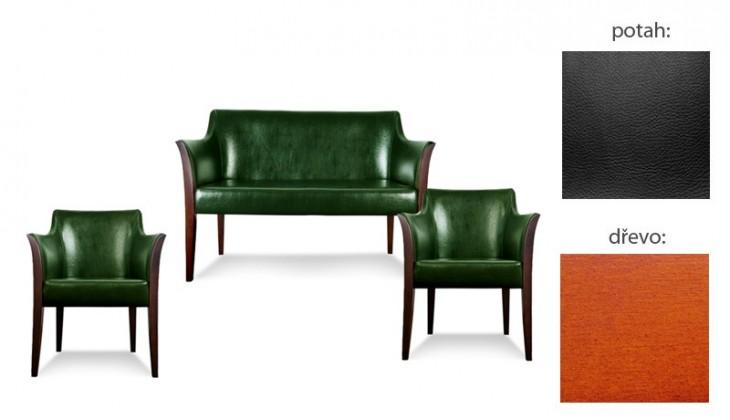 Bari 2+1+1 (extra leather black sk. III / drevo č. 3)