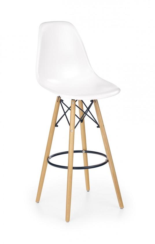 Barová stolička Barová stolička Gabri (plast, kov, drevo, biela)