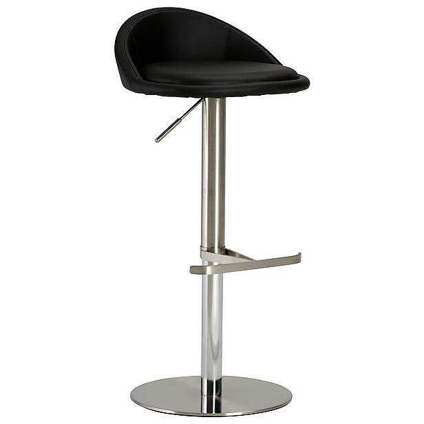 Barová stolička Chill 5 - Barová stolička (nerez, eko koža čierna)