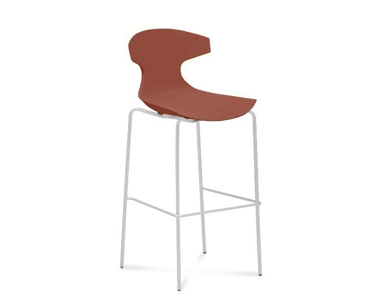 Barová stolička ECHO-Sgb(bílý lak + cihlově červená)