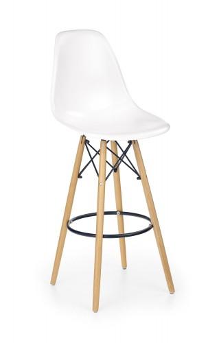 Barová stolička Gabri (plast, kov, drevo, biela)