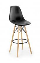 Barová stolička Gabri (plast, kov, drevo, čierna)