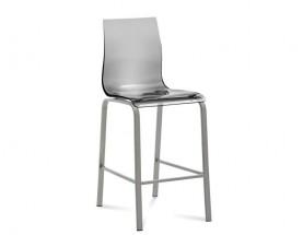 Barová stolička Gel-R (hliník, priehľadná) - II. akosť