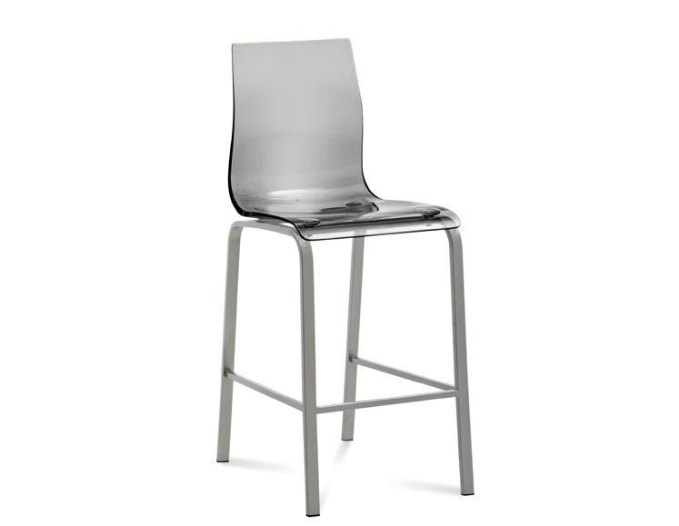 Barová stolička GEL-R-Sgb(hliník + priehladná)