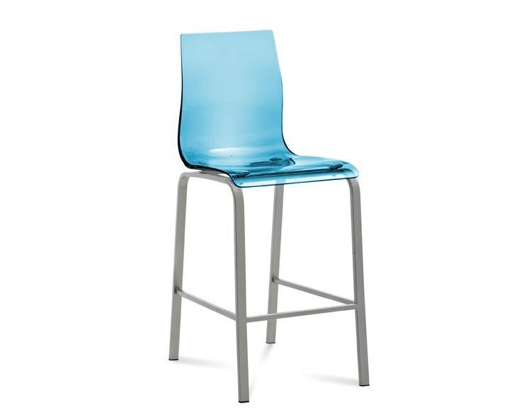 Barová stolička GEL-R-Sgb(hliník + světle modrá)