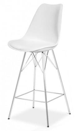 Barová stolička GINA 9361-801+PORGY BAR 9340-091 (biela,chróm)