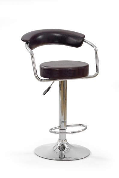 Barová stolička H-14 (eco koža tm.hnědá,chrom)