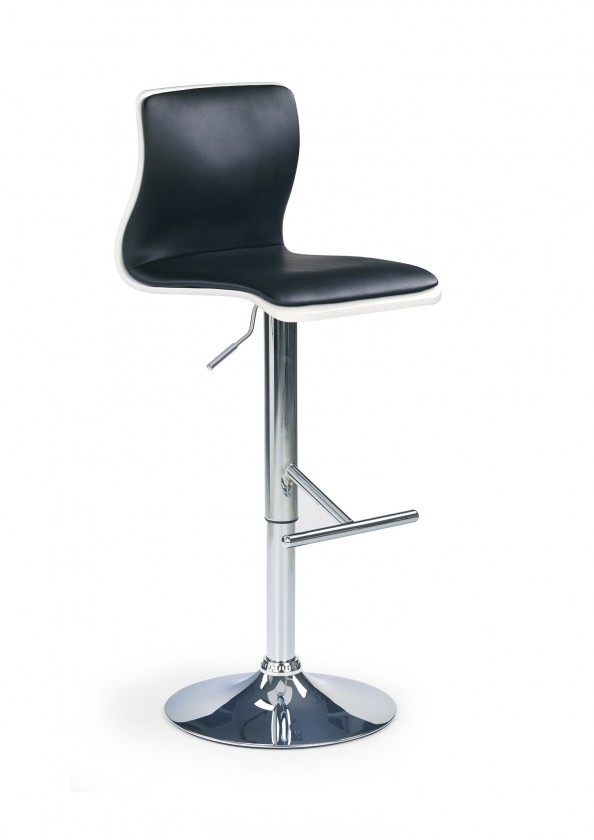 Barová stolička H-30 (drevo biela,eco koža čierna,chrom)