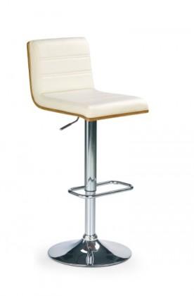 Barová stolička H-31 (orech,eco koža béžová,chrom)