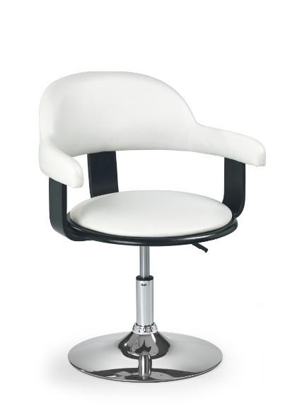 Barová stolička H-40 (drevo čierne,eco koža biela,chrom)