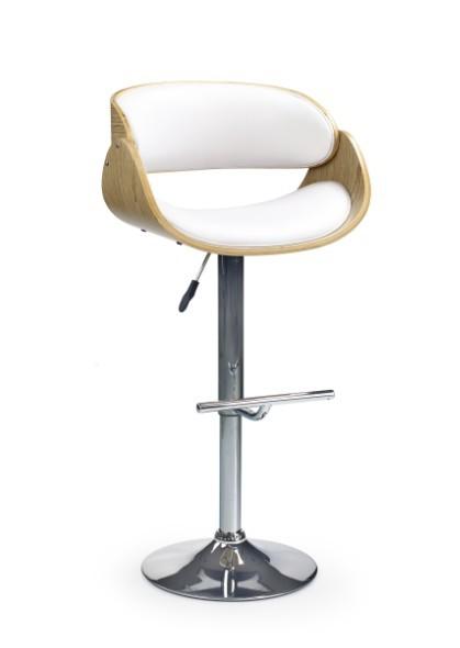 Barová stolička H-43 (svetlý dub,eco koža biela,chrom)