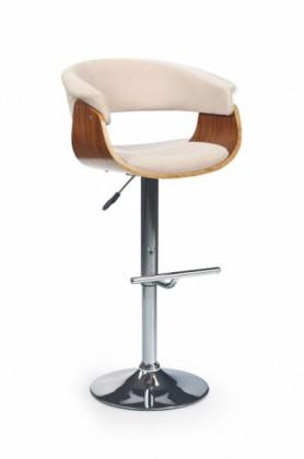 Barová stolička H-45 (orech,béžová,chrom)