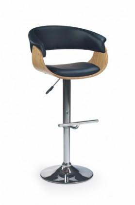 Barová stolička H-45 (svetlý dub,eco koža čierna,chrom)