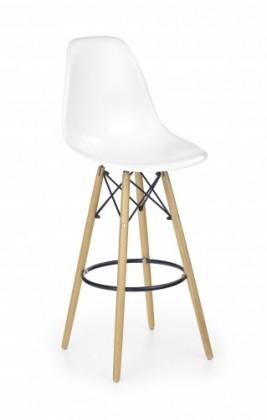 Barová stolička H-51 - Barová stolička, masivné drevo, bielá