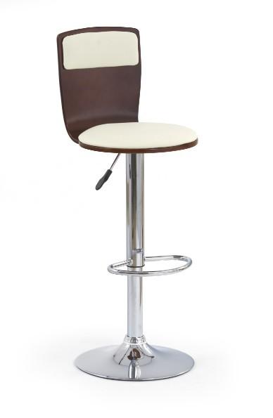 Barová stolička H-7 (čerešňa antik,eco koža béžová,chrom)