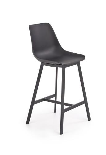Barová stolička Isa (plast, kov, čierna).