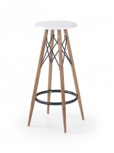 Barová stolička Jade (plast, kov, drevo, biela)
