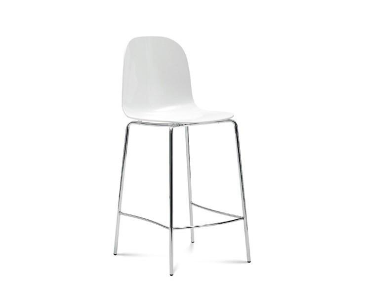 Barová stolička Playa-Sgb (chrómovaná oceľ, biela)