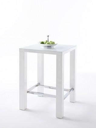 Barový stôl Barový stolík Jordy (biela, strieborná, štvorec)