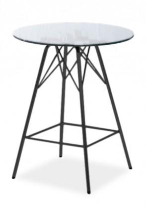 Barový stôl LOLA 9307-090+PORGY BAR 9340-824 (čire sklo,čierna)