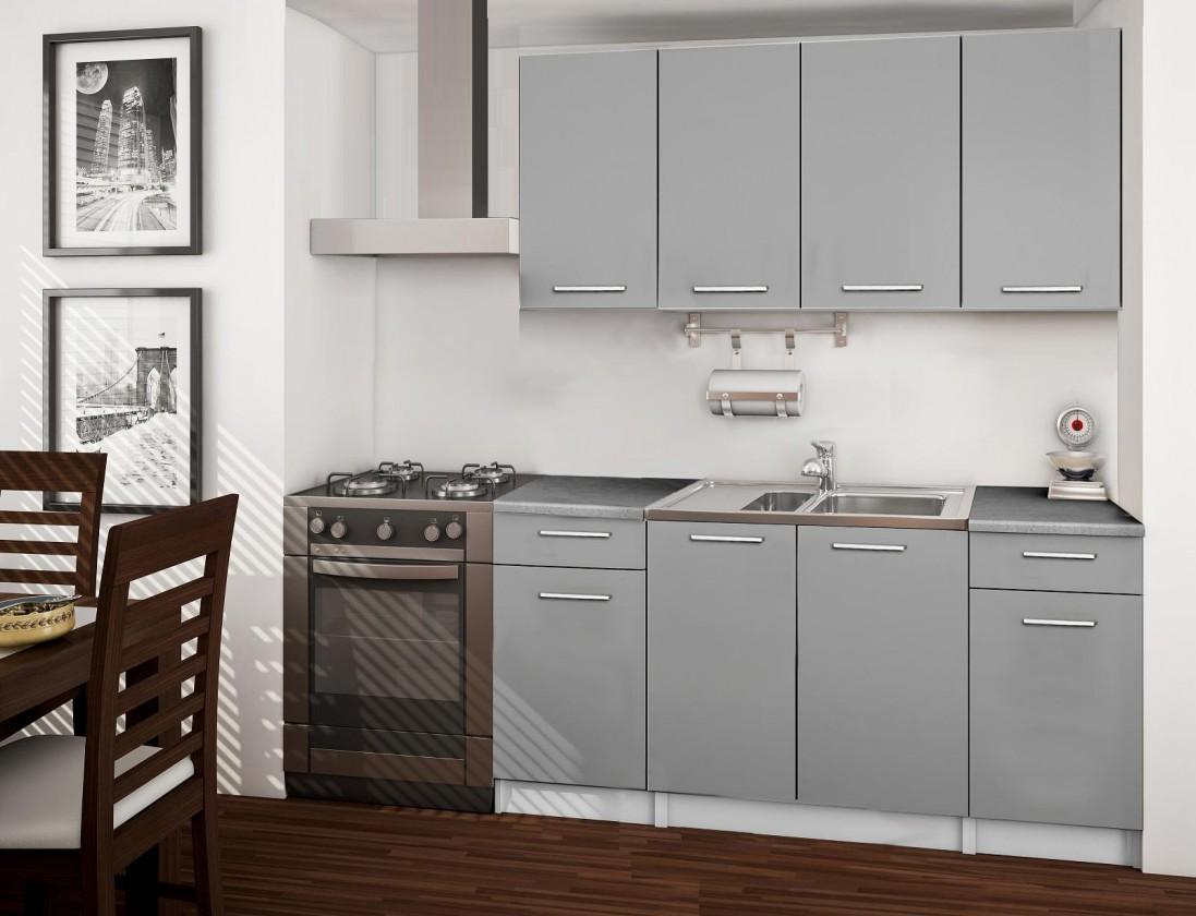 Basic - kuchynský blok, 160 cm (sivá)