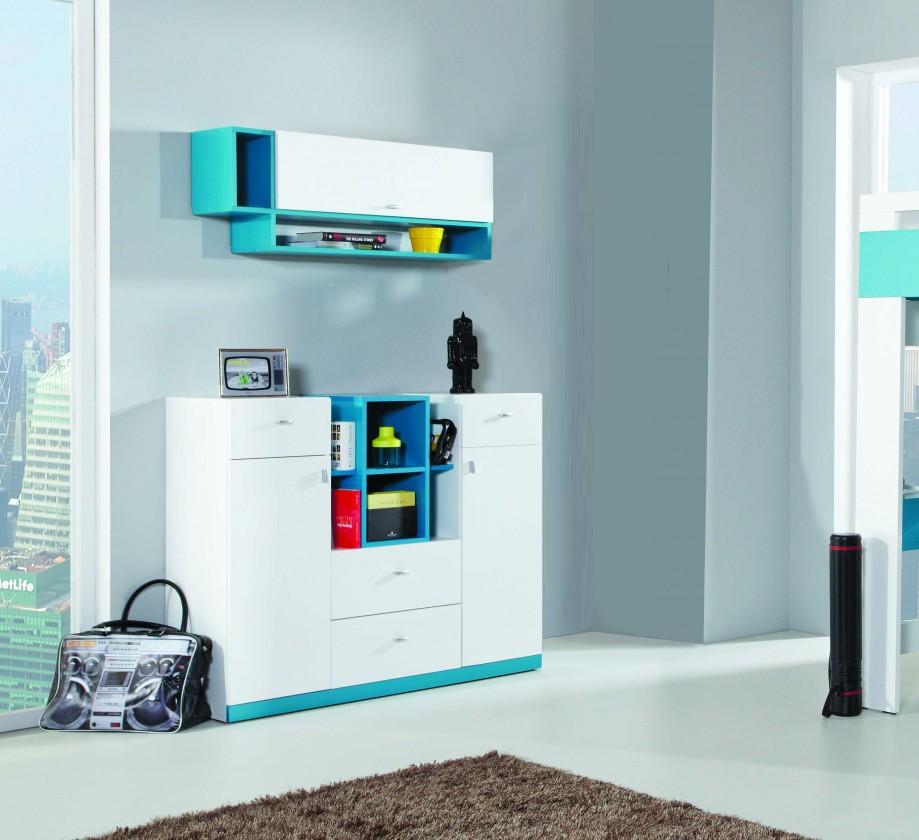 Bazár detské izby MOBI MO 10 - Komoda (biela lesk/tyrkysová)