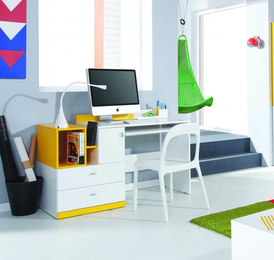 Bazár detské izby Mobi - PC stůl, 1x dvere, 2x zásuvka (biela lesk/žltá)