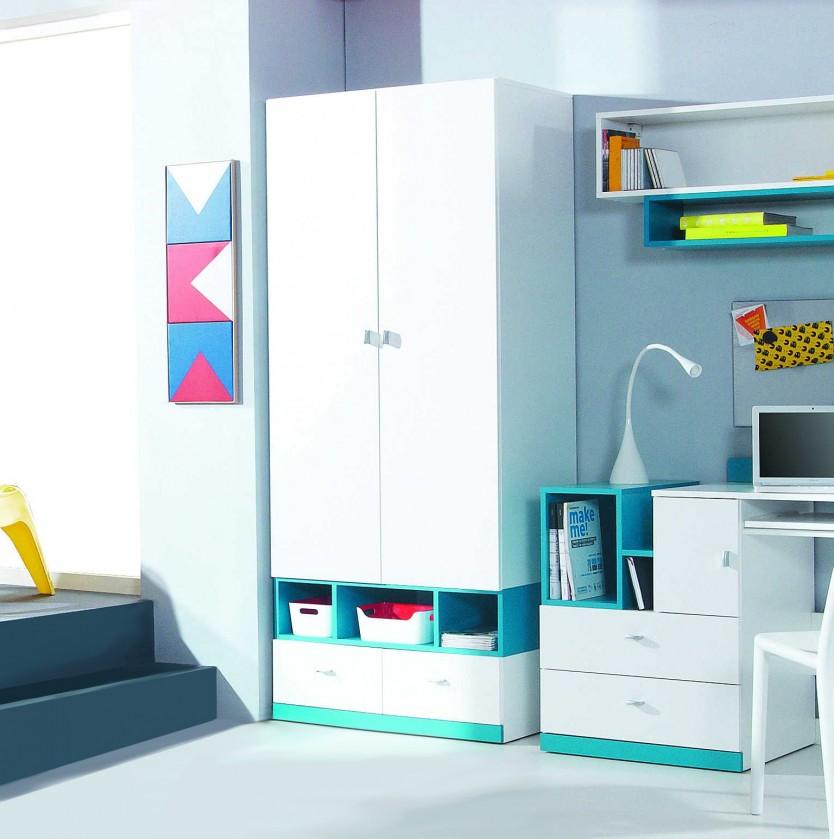 Bazár detské izby Mobi - Šatníková skriňa, 2x dvere (biela lesk/tyrkysová)