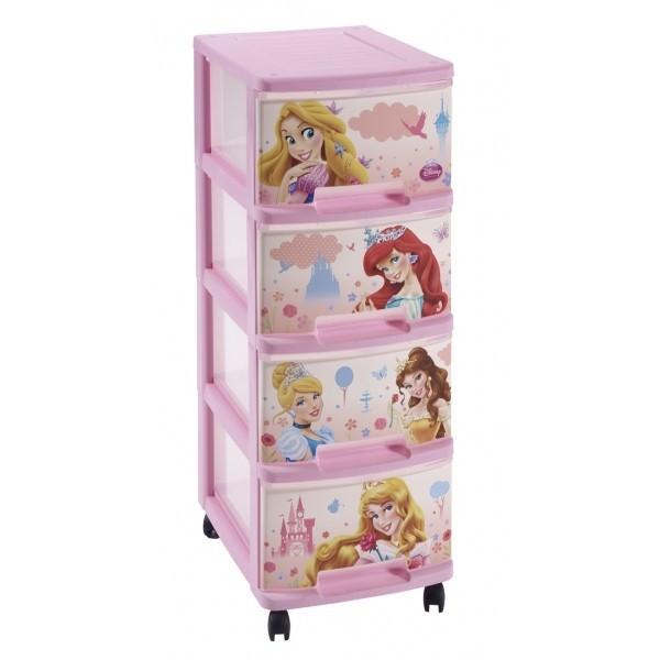 Bazár detské izby Regálek se 4 zásuvkami  4x10L princezny (ružová)