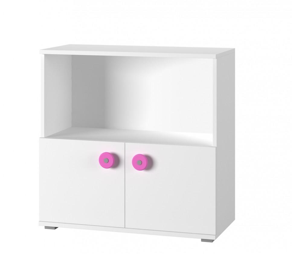 Bazár detské izby Simba 11 - Komoda (biela, korpus/biela, růžová)