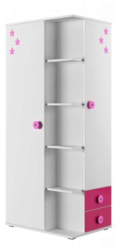 Bazár detské izby Simba 7(korpus biela/front biela a ružová)