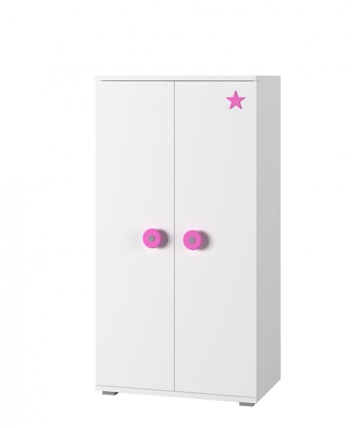 Bazár detské izby Simba 8 - Komoda (biela, korpus/biela, růžová)