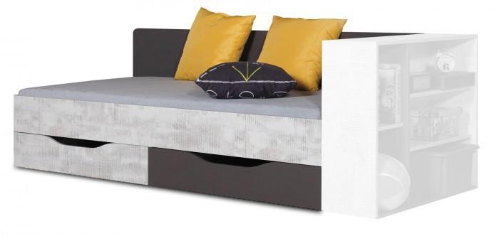 Bazár detské izby Tablo - posteľ 90x200 cm, rošt (grafit/enigma)