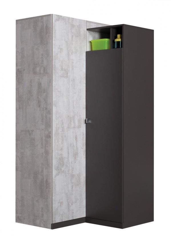 Bazár detské izby Tablo - šatníková skriňa, 2x dvere, 90 cm (grafit/enigma)