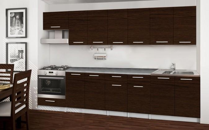 Bazár kuchyne, jedál Basic - Kuchynský blok A, 300 cm (wenge)