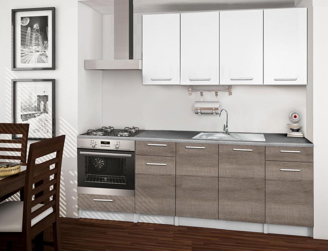 Bazár kuchyne, jedál Basic - Kuchynský blok C, 220/160 cm (biela, trufle, titán)
