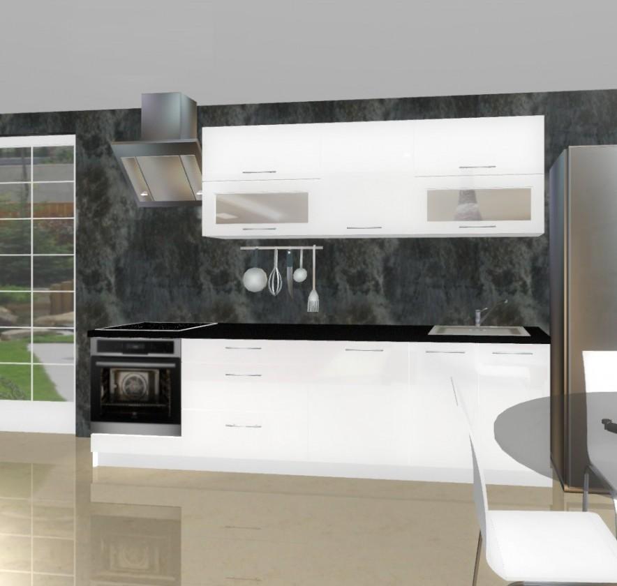 Bazár kuchyne, jedál Emilia - Kuchynský blok A pre vstavanú rúru, 2,8 m (biela lesk)