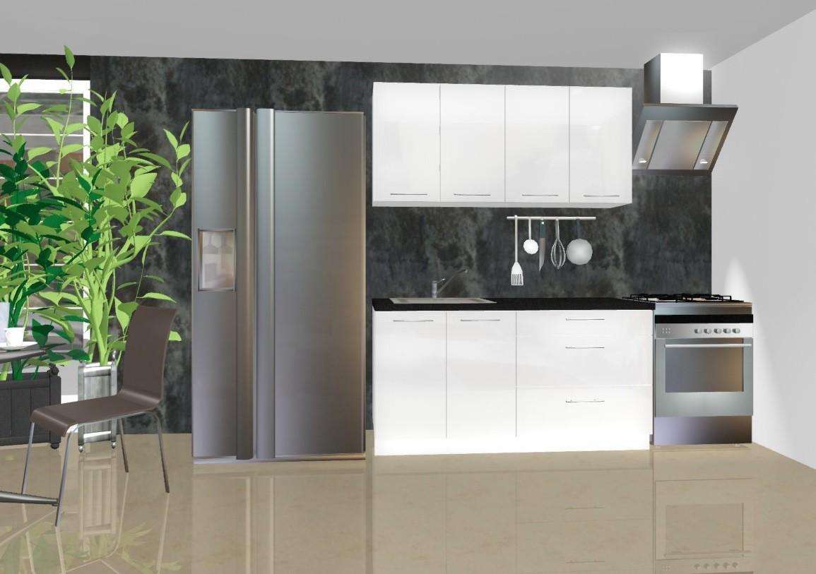 Bazár kuchyne, jedál Emilia - Kuchynský blok B, 1,6 m (biela lesk)